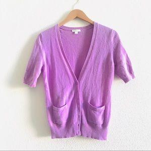 GARNET HILL lavender cashmere cardigan sweater M